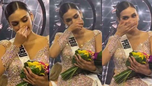 Las lágrimas de Janick Maceta al ser elegida segunda finalista del Miss Universo. (Foto: Captura)