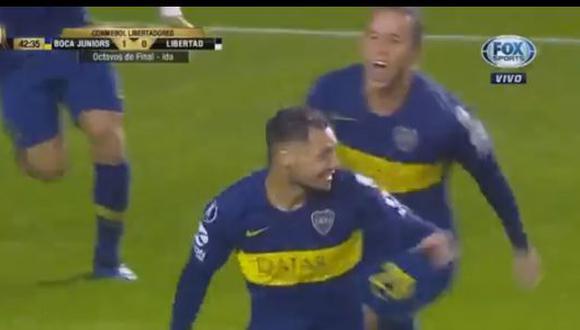 Boca Juniors sacó rápida ventaja ante Libertad de Paraguay por octavos de final de Copa Libertadores. Mauro Zárate estiró diferencias antes de finalizar la primera parte. (Foto: captura)