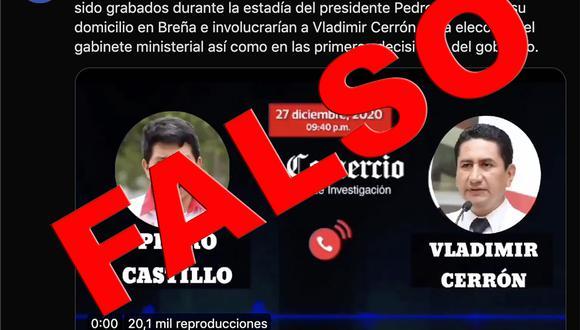 Cuenta falsa de El Comercio en Twitter.