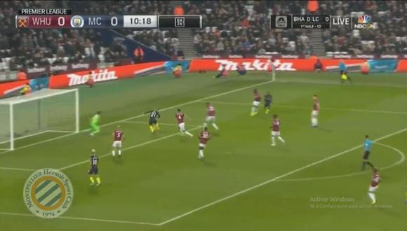 David Silva abrió el marcador en el Manchester City vs. West Ham por la jornada 15 de la Premier League (Foto: captura de pantalla)
