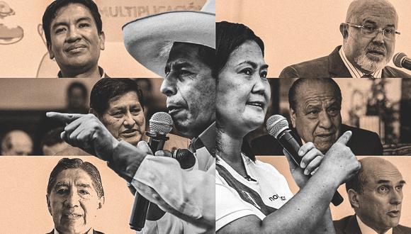 Pedro Castillo y Keiko Fujimori presentaron ayer a los profesionales que los acompañarán en este tramo de las elecciones (Composición: El Comercio)