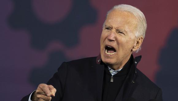El candidato presidencial demócrata y exvicepresidente de Estados Unidos, Joe Biden, habla en un mitin en el estado de Michigan, el 16 de octubre de 2020. (Foto de JIM WATSON / AFP).