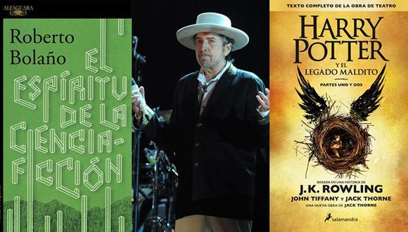 """""""El espíritu de la ciencia ficción"""" de Roberto Bolaño, el Nobel a Bob Dylan y lo último del universo Harry Potter. (Fotos: Agencias)"""