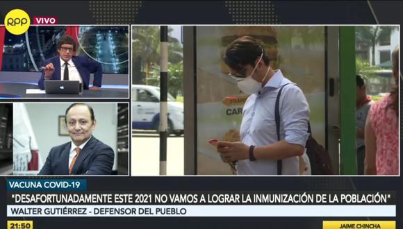 El defensor del Pueblo, Walter Gutiérrez, pidió al Gobierno que dé otras medidas para evitar que los casos de contagio por COVID-19 suban. Una de esas medidas es la entrega masiva de mascarillas. (Foto: RPP)