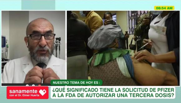 Imagen del doctor Elmer Huerta en su sección de salud en América TV. (Captura/AméricaTV).