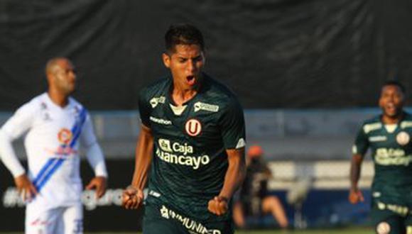 Rugel grita el 2-1 de Universitario sobre Alianza Atlético este sábado en el estadio Iván Elías Moreno. (Foto: Liga de Fútbol Profesional)