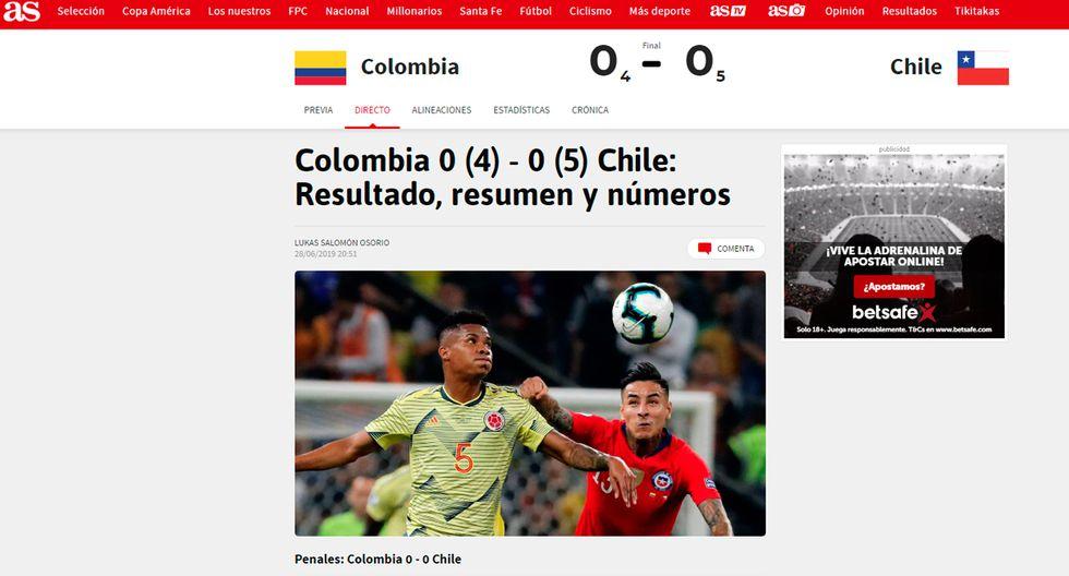 Así informaron los medios internacionales la clasificación de Chile en la Copa América. (As de España)