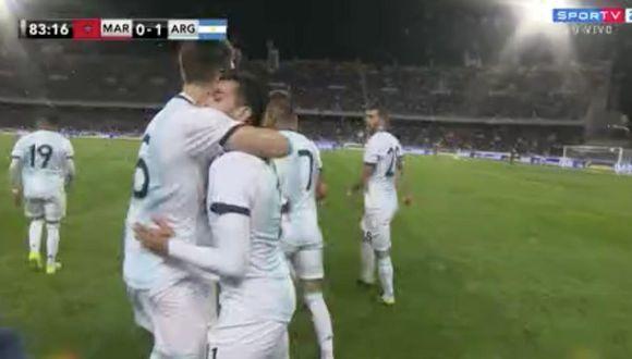 La celebración por el gol de Correa contra Marruecos. (Foto: captura de video)