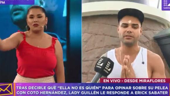 Lady Guillén en una accidentada entrevista con Erick Sabater.