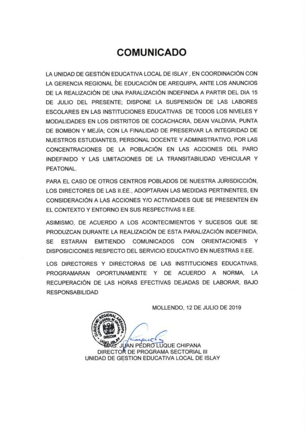 El comunicado de la suspensión de clases, desde el 15 de julio, en cuatro distritos de la provincia de Islay.