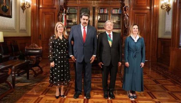 Nicolás Maduro divulgó en su cuenta de Twitter la imagen de su encuentro con AMLO. Foto: Twitter @nicolasmaduro