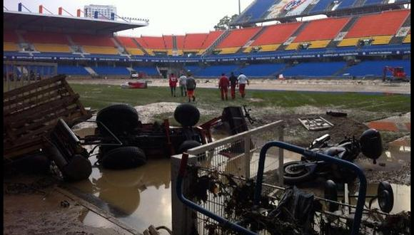 Estadio del Montpellier se inundó y quedó inutilizable