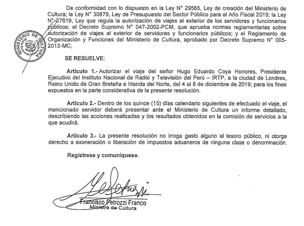 Resolución que autoriza un viaje oficial de Hugo Coya
