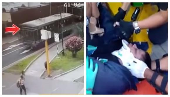 Sereno fue embestido por un bus del Corredor Azul el pasado viernes 21 de febrero en la intersección de las avenidas Arequipa y Tomás Guido en Lince. (Captura: BDP)