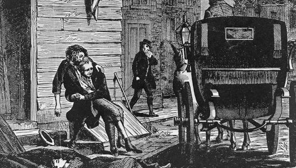 La fiebre amarilla causó estragos en varias partes del mundo. Este es un grabado de la ciudad de Filadelfia. La Pandemia alcanzó el puerto del Callao y Lima donde dejó miles de víctimas.