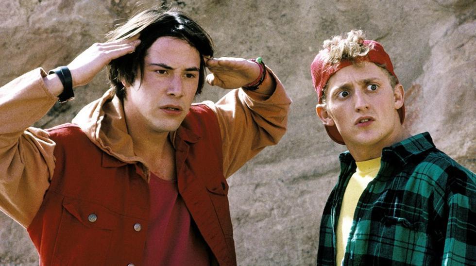 "Keanu Reeves durante el rodaje de ""Bill & Ted Face the Music""."