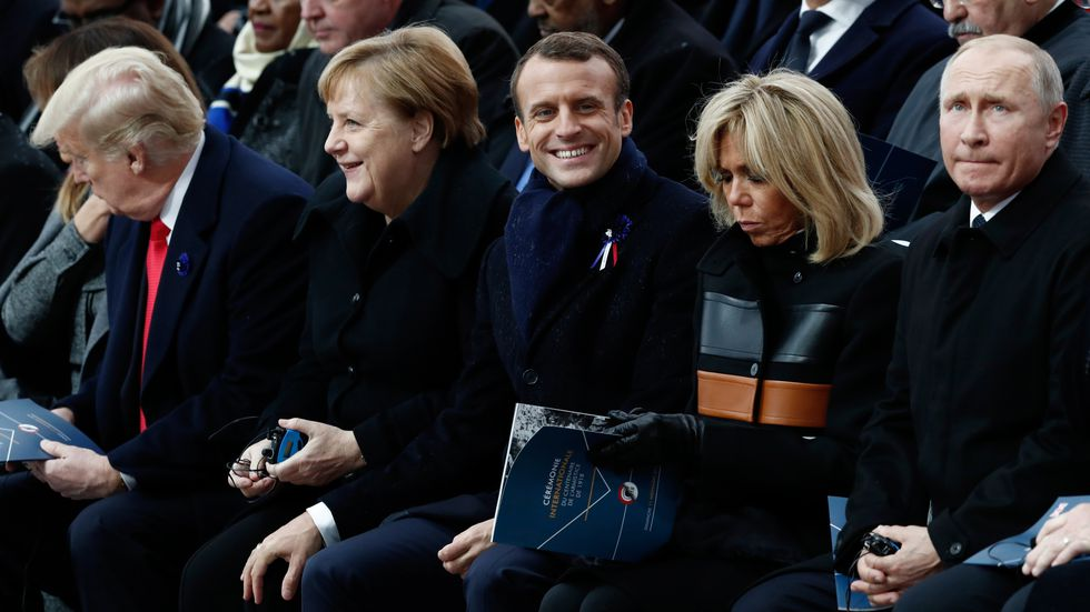 Donald Trump, Angela Merkel, Emmanuel Macron y Vladimir Putin entre los líderes mundiales que conmemoran los 100 años del fin de la Primera Guerra Mundial. (AFP).