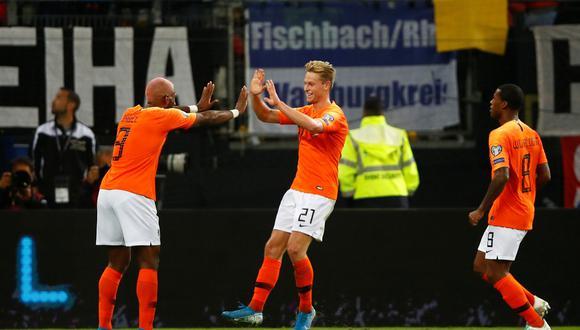 Alemania vs. Holanda: Frenkie de Jong anotó el 1-1 con este golazo. (Foto: Reuters)