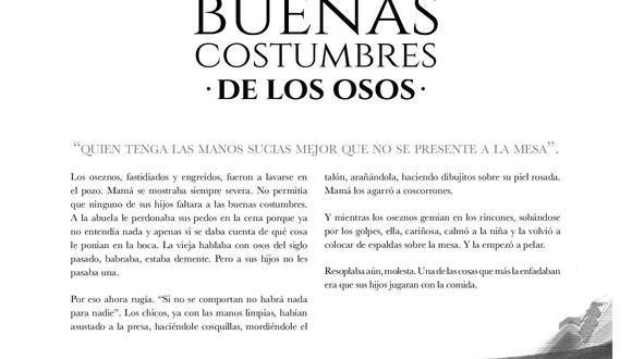 """Relato """"Buenas costumbres de los osos"""", incluido en """"Cuentos heridos"""", de José Carlos Agüero, e ilustrado por Andrea Lértora"""