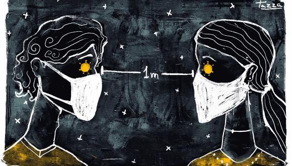 El distanciamiento social ha generado vacíos en nuestras formas de relacionarnos entre nosotros, nuestros seres queridos, y nuestras futuras relaciones. ILUSTRACIÓN: Giovanni Tazza.
