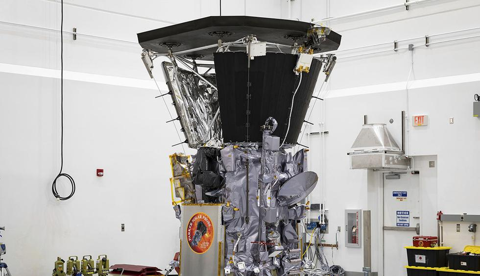 """This July 6, 2018 photo made available by NASA shows the Parker Solar Probe in a clean room at Astrotech Space Operations in Titusville, Fla., after the installation of its heat shield. NASA's Parker Solar Probe will be the first spacecraft to """"touch"""
