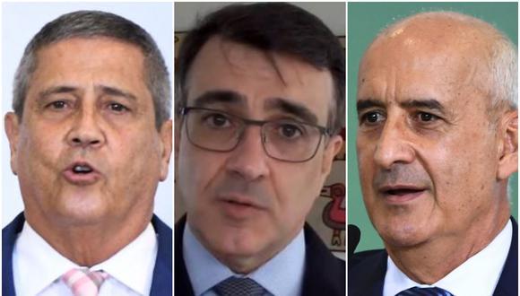 De izquierda a derecha, los nuevos ministros brasileños: Walter Braga Netto en Defensa, Carlos Alberto Franco França en Asuntos Exteriores y Luiz Eduardo Ramos en la jefatura del Gabinete de la Presidencia. (Fotos: AFP y O'Globo)