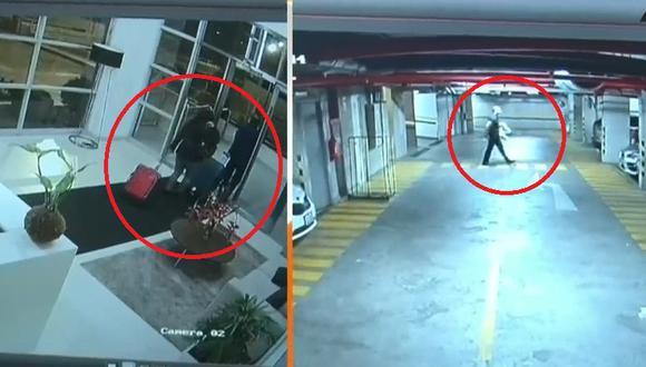 Videos muestran cuando los padres y el abogado salen esta madrugada del edificio ubicado en Surquillo. (Captura: ATV Noticias)