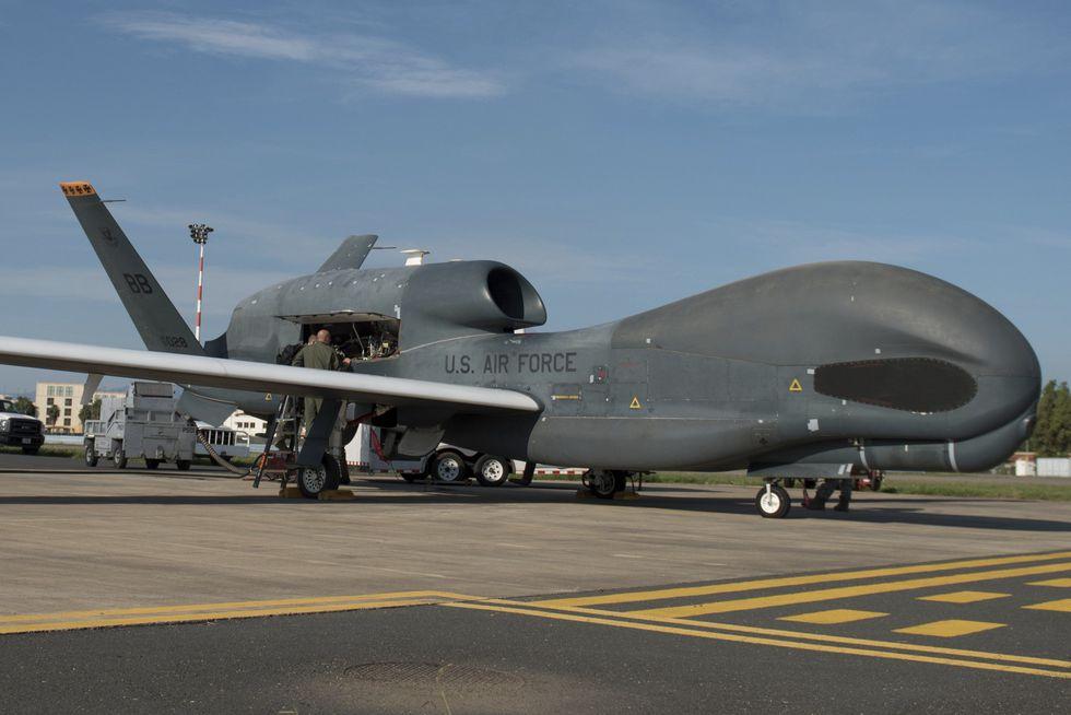 Un dron RQ-4 Global Hawk de la marina de Estados Unidos. (AP).