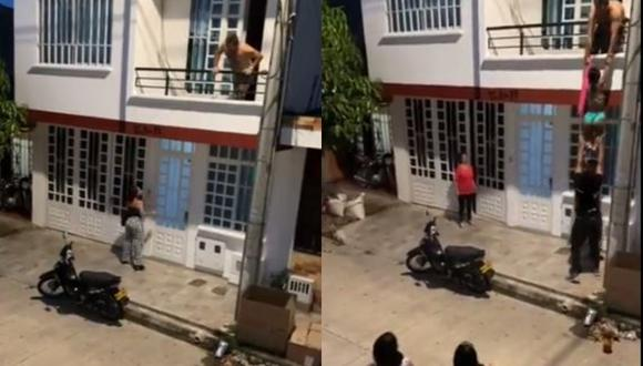 La amante escapó por el balcón ante el temor de ser descubierta por la esposa del hombre. (Foto: Captura/Twitter)