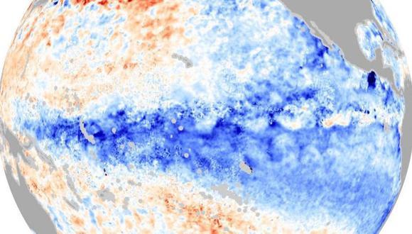 La imagen muestra las aguas más frías del Pacífico que caracterizan a La Niña. (NASA)