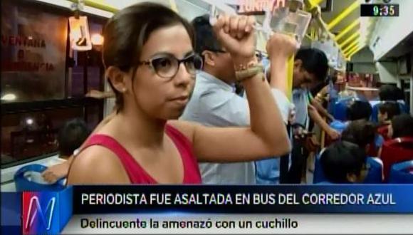 Corredor azul: periodista denuncia que fue asaltada en bus