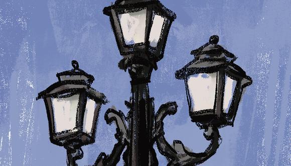 """""""Viene realizando las gestiones pertinentes para suprimir los postes que tanto afean el Paseo Colón y sustituirlos por 32 faroles de fierro para alumbrado eléctrico"""". (Ilustración: Giovanni Tazza)."""
