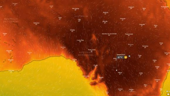 Tras la peor sequía de los últimos 100 años e incendios que arrasaron más de 3 millones de hectáreas, el clima no da tregua al país oceánico que ahora enfrentará  intensas temperaturas. La medición, sin embargo, está aún por debajo de los 56,7°C que se registraron en el Valle de la Muerte en 1913, la peor de la historia. (windy.com)