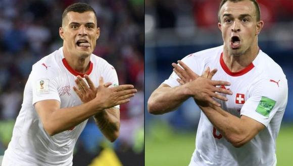 Rusia 2018: El símbolo nacionalista de dos jugadores de Suiza que investiga la FIFA. (Foto: BBC Mundo vía EPA)