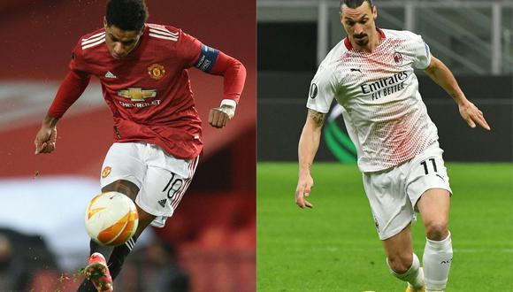 Manchester United y AC Milan chocarán en el duelo más llamativo de los octavos de final de Europa League. (Foto: AFP)