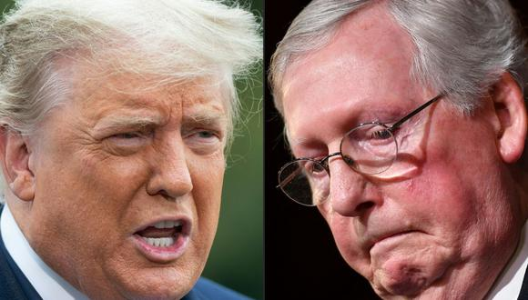 Donald Trump insta a republicanos a echar a Mitch McConnell como su líder en el Senado. (Fotos: SAUL LOEB y Mandel NGAN / AFP).