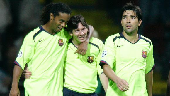 Ronaldinho, Deco y Lionel Messi en el Barcelona. (Foto: Reuters)