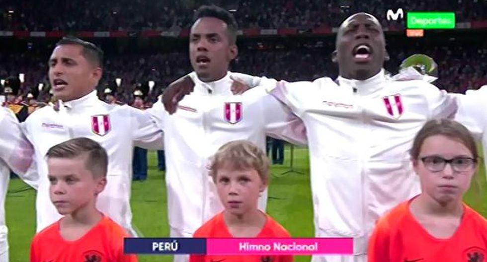 Perú vs. Holanda: Himno Nacional retumbó en el Johan Cruyff Arena. (Foto: Captura de video)
