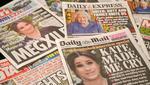 Diarios del Reino Unido con sus portadas sobre la entrevista concedida por Meghan Markle, duquesa de Sussex, esposa del príncipe Harry, duque de Sussex, a Oprah Winfrey. (Foto de Glyn KIRK / AFP).