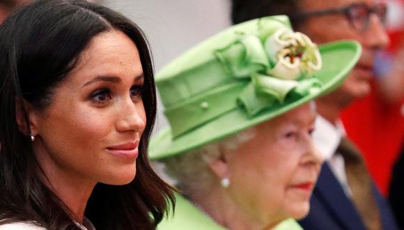 Meghan de Sussex habló con Isabel II del Reino Unido días antes del funeral de Felipe de Edimburgo. (Foto: AFP)
