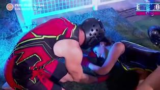 EEG: Tepha Loza sufrió lesión en circuito extremo y Pancho Rodríguez corrió para ayudarla