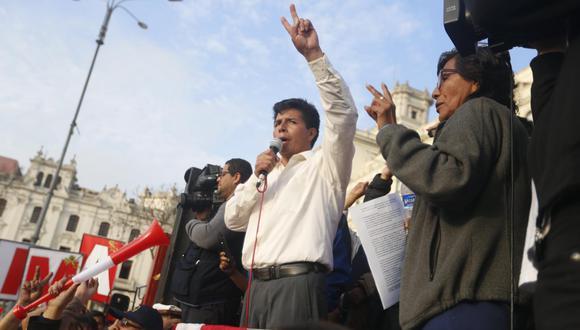 Pedro Castillo, empoderado por los dos Sutep-Conare, estuvo al frente de la huelga de docentes de 2017, que se extendió por 75 días, entre junio y setiembre. (Foto: Archivo El Comercio)