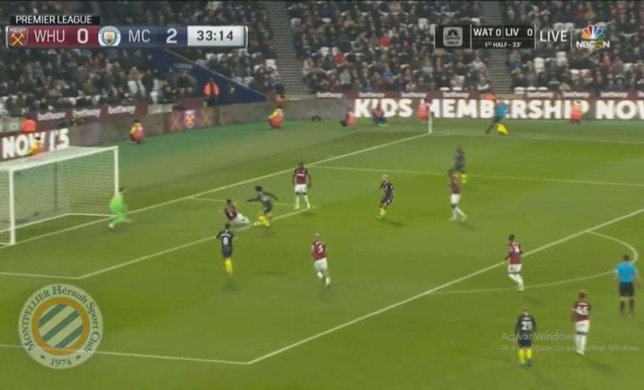 Leroy Sané demostró toda su calidad en la definición del tercer gol del Manchester City vs. West Ham. El duelo se desarrolló en el Estadio Olímpico de Londres (Foto: captura de pantalla)