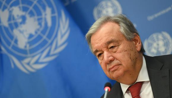 En esta foto de archivo, el Secretario General de las Naciones Unidas, Antonio Guterres, habla durante una rueda de prensa en la Sede de las Naciones Unidas el 4 de febrero de 2020 en la ciudad de Nueva York. (Angela Weiss/AFP).