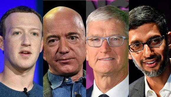 El CEO de Facebook Mark Zuckerberg (izquierda), el CEO de Apple Tim Cook, el CEO de Apple Tim Cook y el CEO de Google Sundar Pichai. (Foto: AFP).