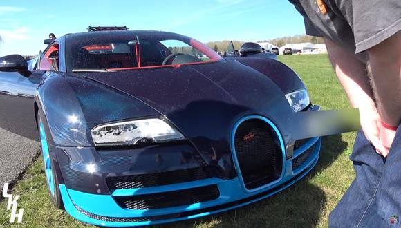 El Bugatti terminó estrellándose contra un muro conformado por barriles de plástico llenos de agua. (Foto: YouTube).