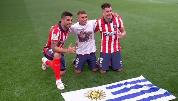 Selección de Uruguay felicita a Suárez, Torreira y Giménez por el título de LaLiga con el Atlético de Madrid.