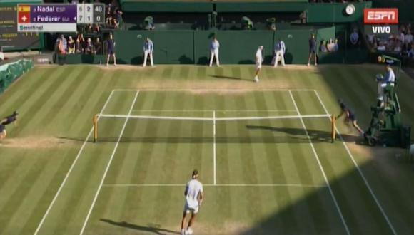 Nadal vs. Federer: el español tuvo el primer 'break point' del partido. (Foto: ESPN / captura de pantalla)