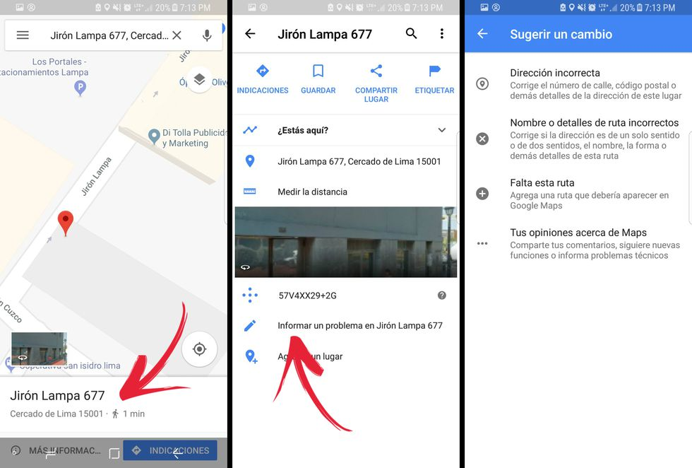 Así puedes informar sobre el error en una dirección de un mapa en Google Maps. (Foto: Google Maps / El Comercio)