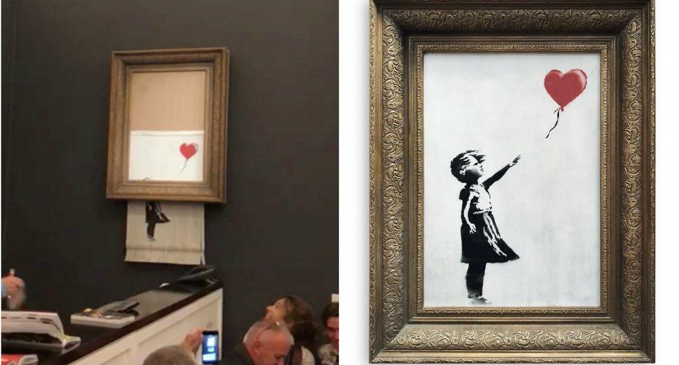 """""""Girl with Balloon"""" de Banksy, se autodestruyó en plena subasta en Londres (Foto: Reuters / AP)"""